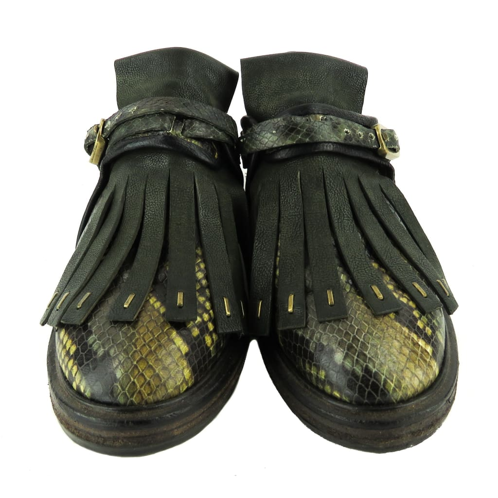 A.S. 98 Green Snake Embossed Leather Fringe Oxfords Flats - Flats
