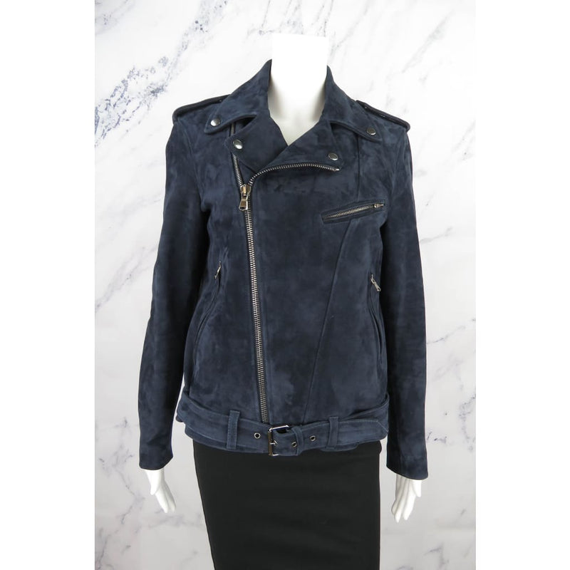 AG Navy Blue Suede Leather Medium The Reese Biker Jacket - Jacket