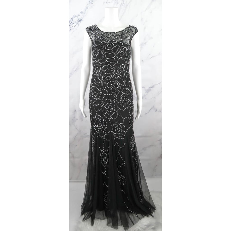 Aidan Mattox Black Polyester Bead Embellished Size 2 Long Formal Dress - Formal Dress