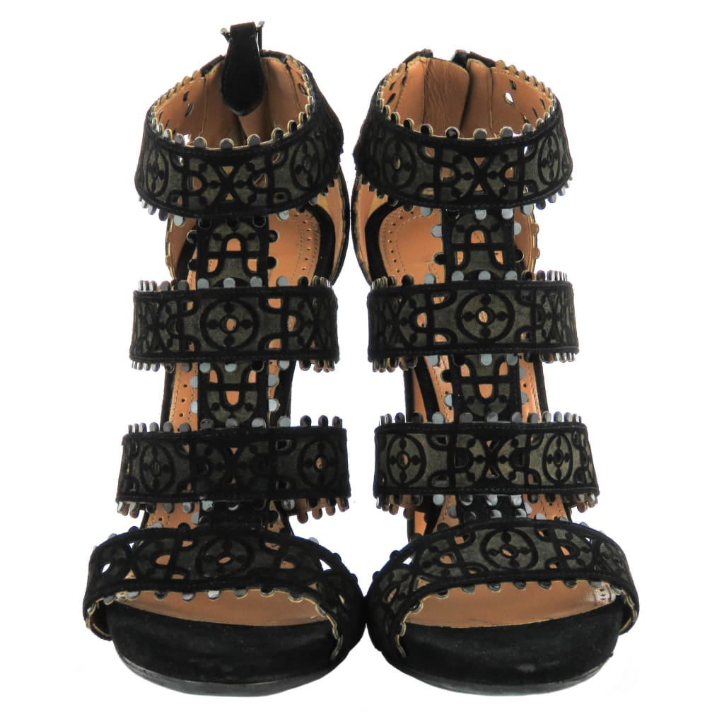 Alaia Black Suede Open Toe Sandal Heels - Sandals