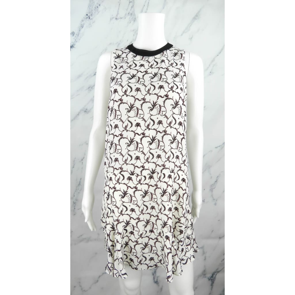 ALC Ivory and Black Silk Printed Size 2 Sleeveless Dress - Dress