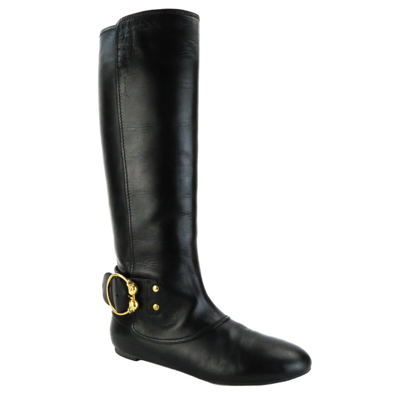 Alexander Mcqueen Black Leather Twin Skull Buckle Boots - Boots/rain Boots