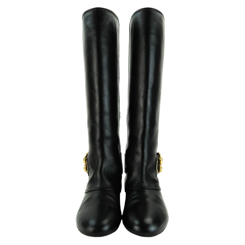 49f27566cf3e Alexander Mcqueen Black Leather Twin Skull Buckle Boots - Boots rain Boots