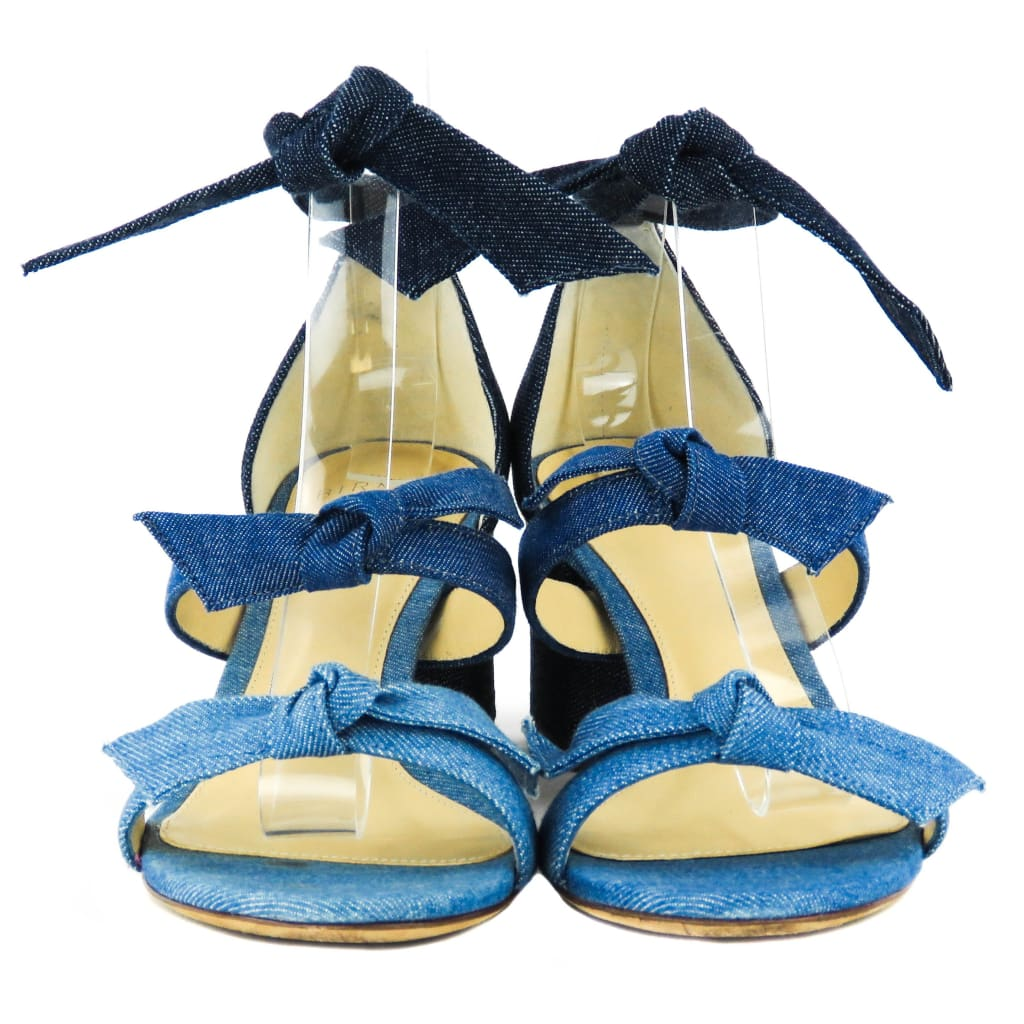 Alexandre Birman Blue Denim Mariner Mary Bow Colorblock Sandal Heels - Heels