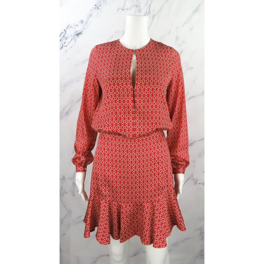 Alexis Red Polyester X-Small Geometric Print Longsleeve Dress - Dresses