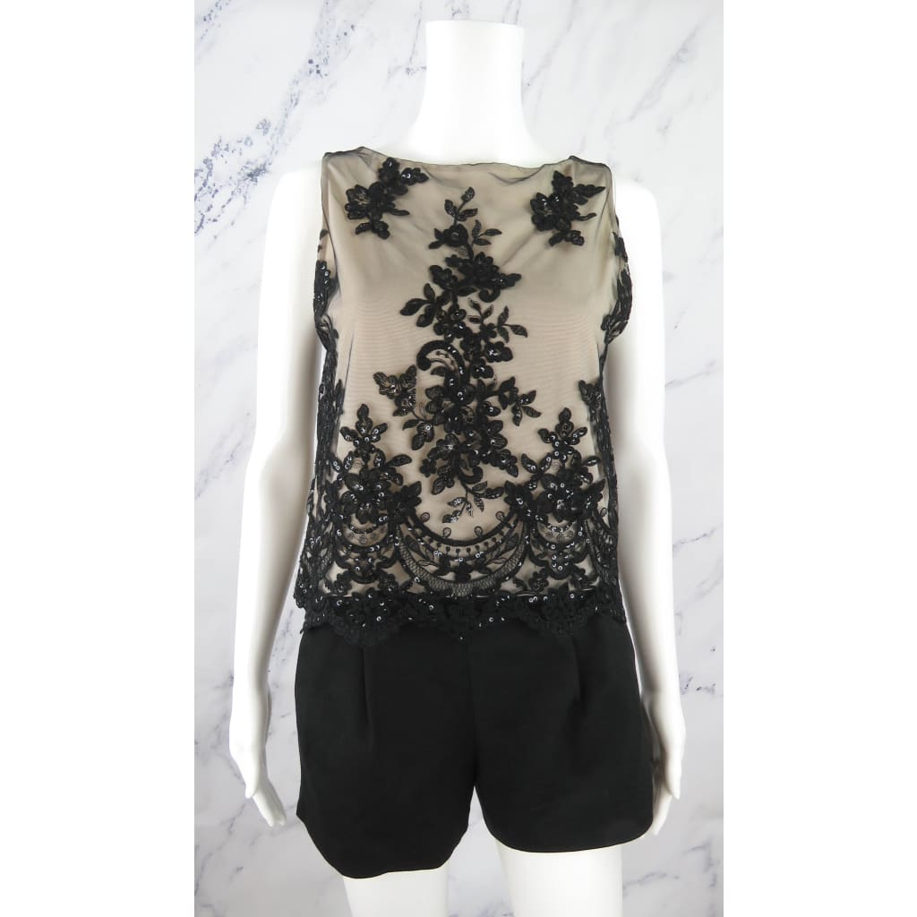 Alice & Olivia Black and Beige Sequin Mesh X-Small Sleeveless Top - Blouse