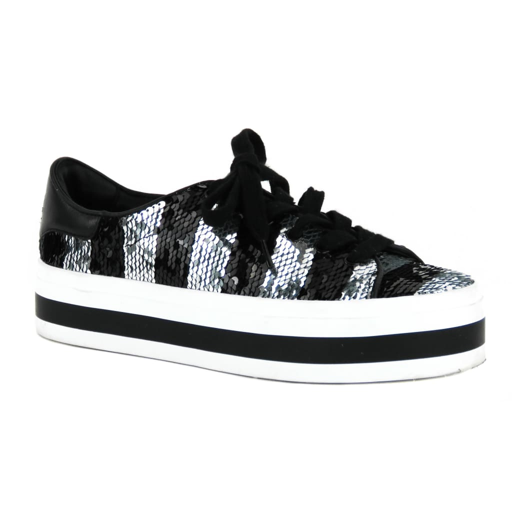 Alice & Olivia Black and Silver Sequin Ezra Stace Face Platform Sneakers - Sneakers