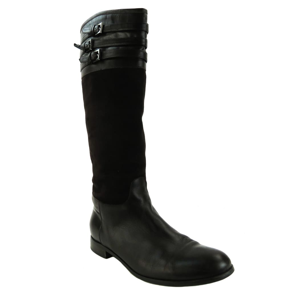Aquatalia Brown Weatherproof Leather And Suede Tall Deliver Boots - Boots/rain Boots