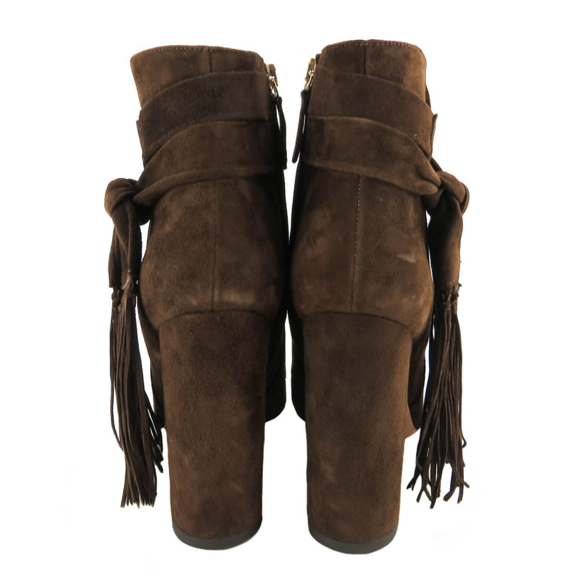 Aquazzura Brown Suede Betty Fringe Knott Booties - Bootie