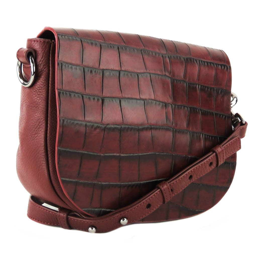 Badgley Mischka Red Croc Embossesd Leather Khloe Crossbody Bag - Crossbodies