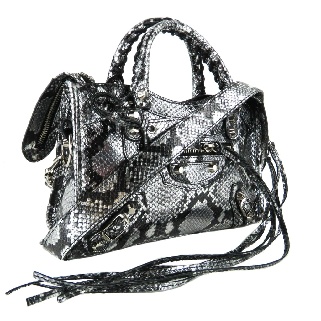Balenciaga Black and Silver Snake Embossed Leather Mini City Satchel Bag - Satchels