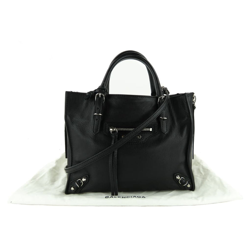 Balenciaga Black Calfskin Leather Papier Mini A4 Zip Around Tote Bag - Totes