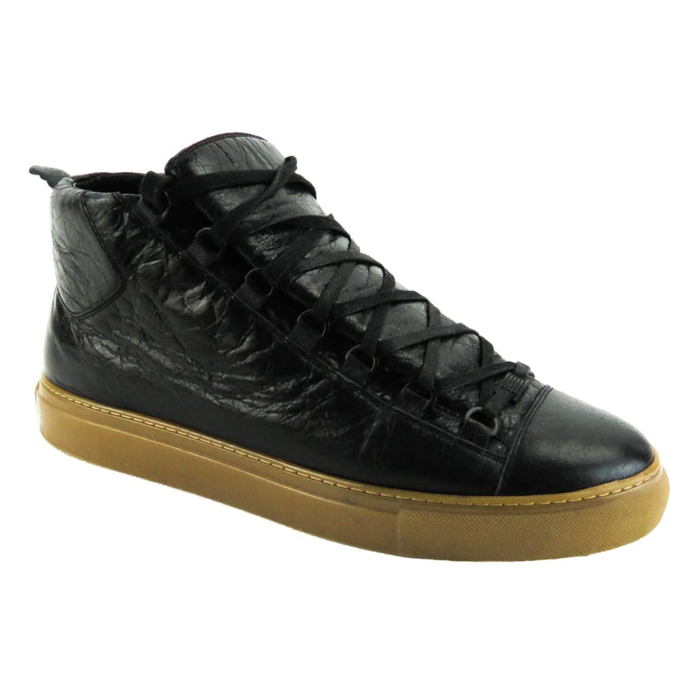 b7345929ecb87 Balenciaga Black Creased Leather Mens Arena High Top Sneakers - Sneakers. 1