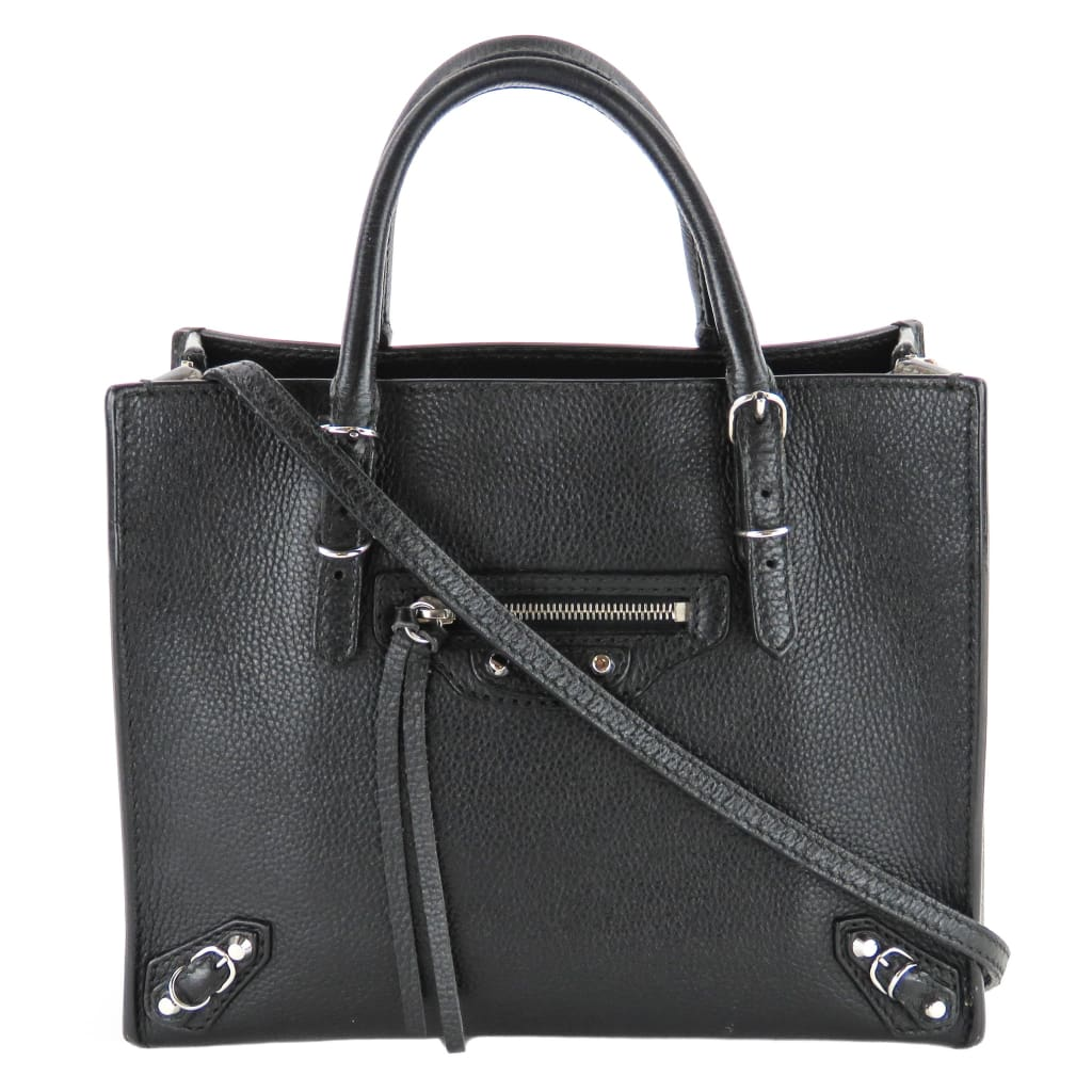 Balenciaga Black Grain Leather Metallic Edge Mini Papier A4 Satchel Bag - Satchels