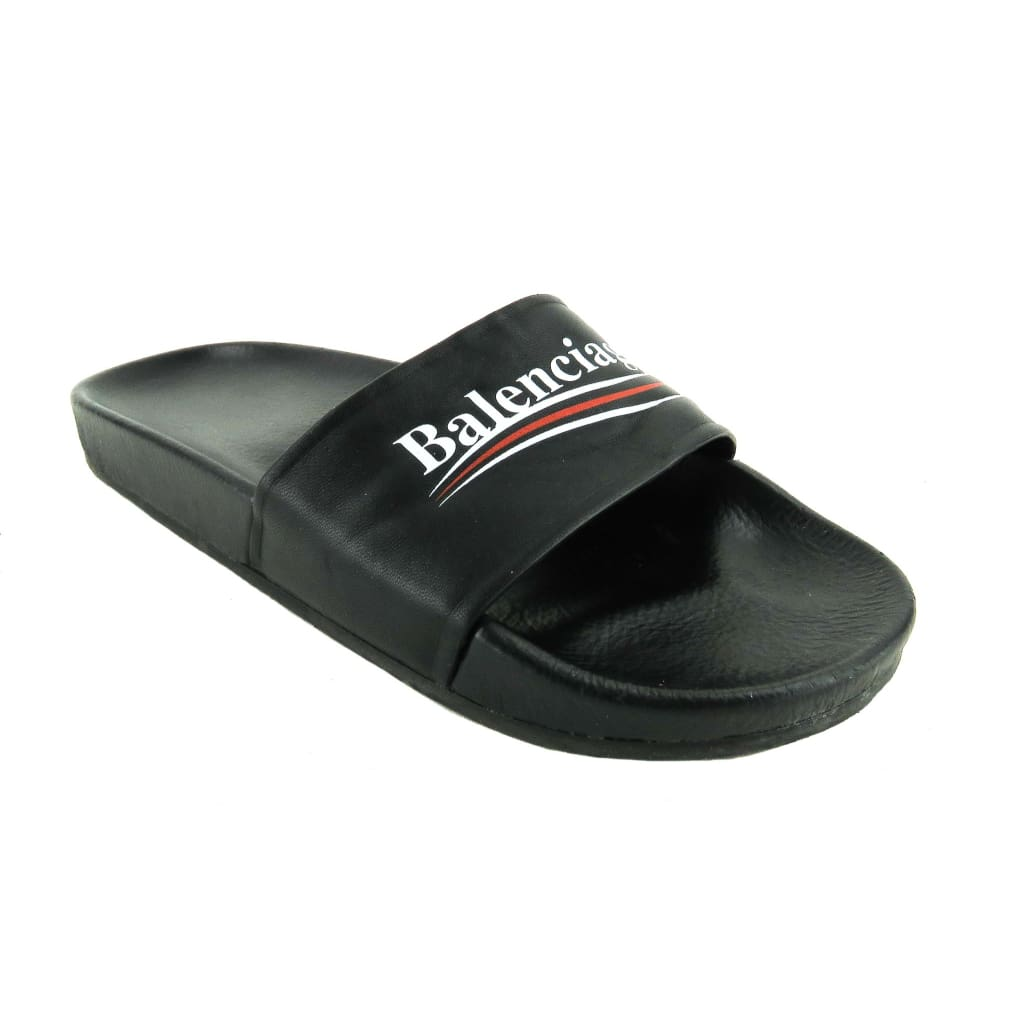 Balenciaga Black Leather Logo Slide Sandals - Sandals