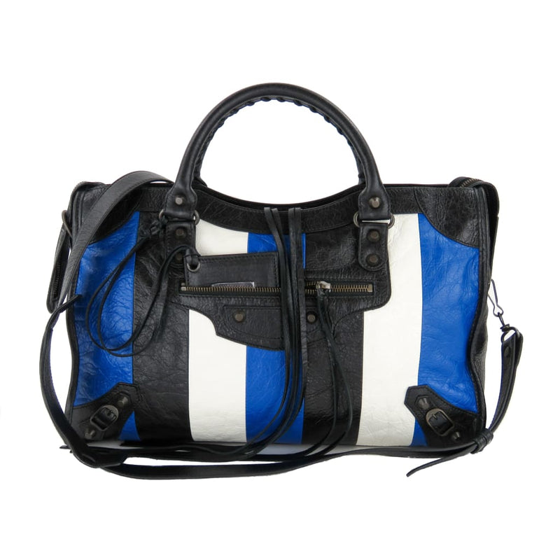 Balenciaga Black White and Blue Leather Agneau Striped Classic City Satchel Bag - Satchels