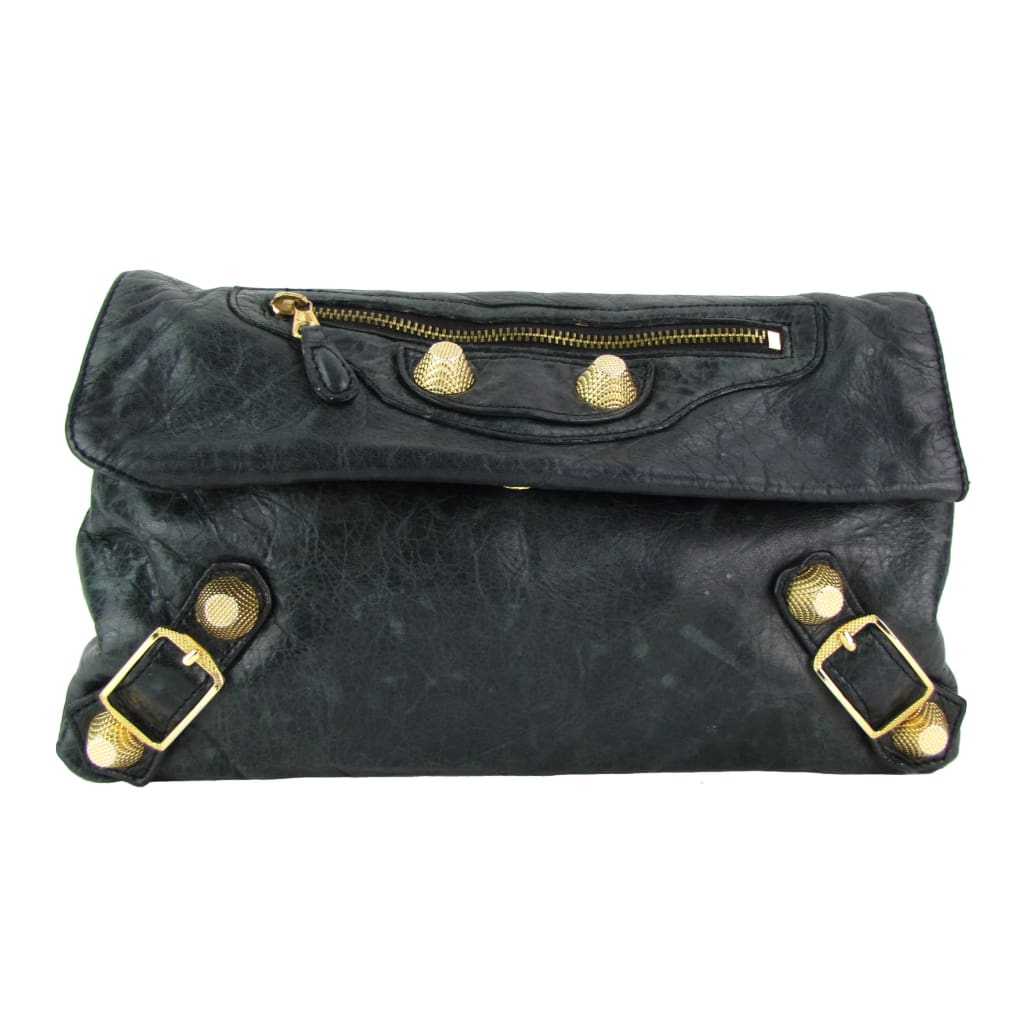 Balenciaga Dark Green Leather Giant 21 Envelope Clutch Bag - Clutches