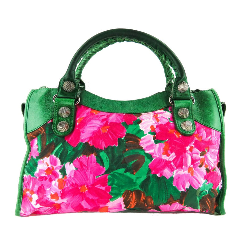 Balenciaga Green and Pink Agneau Canvas Floral Giant 21 Silver City Satchel Bag - Satchels