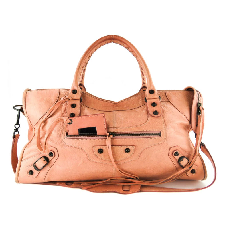Balenciaga Pink Leather Agnaeu Classic Part Time Old Rose Satchel Bag - handbags