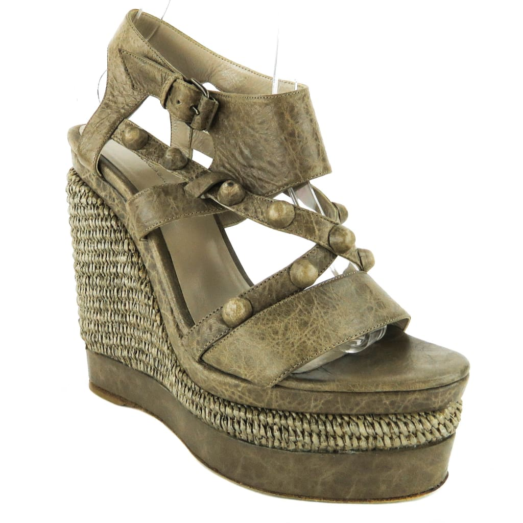 Balenciaga Taupe Leather Arena Sandal Wedges - Wedges