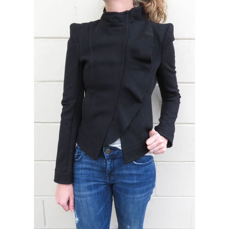 BCBG Black Wool Ruffled X-Small Jacket - Jacket