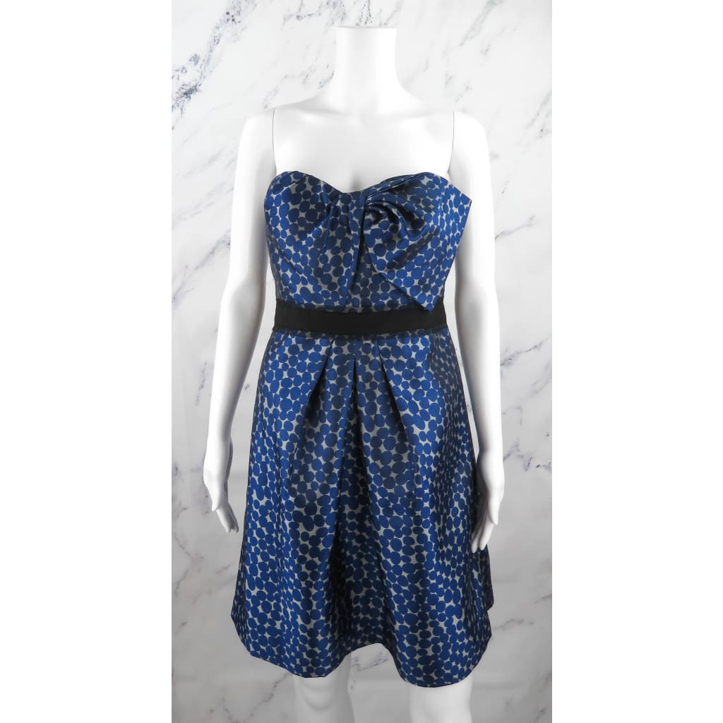 BCBG Blue Polyester Polka Dot Size 12 Strapless Dress - Dress