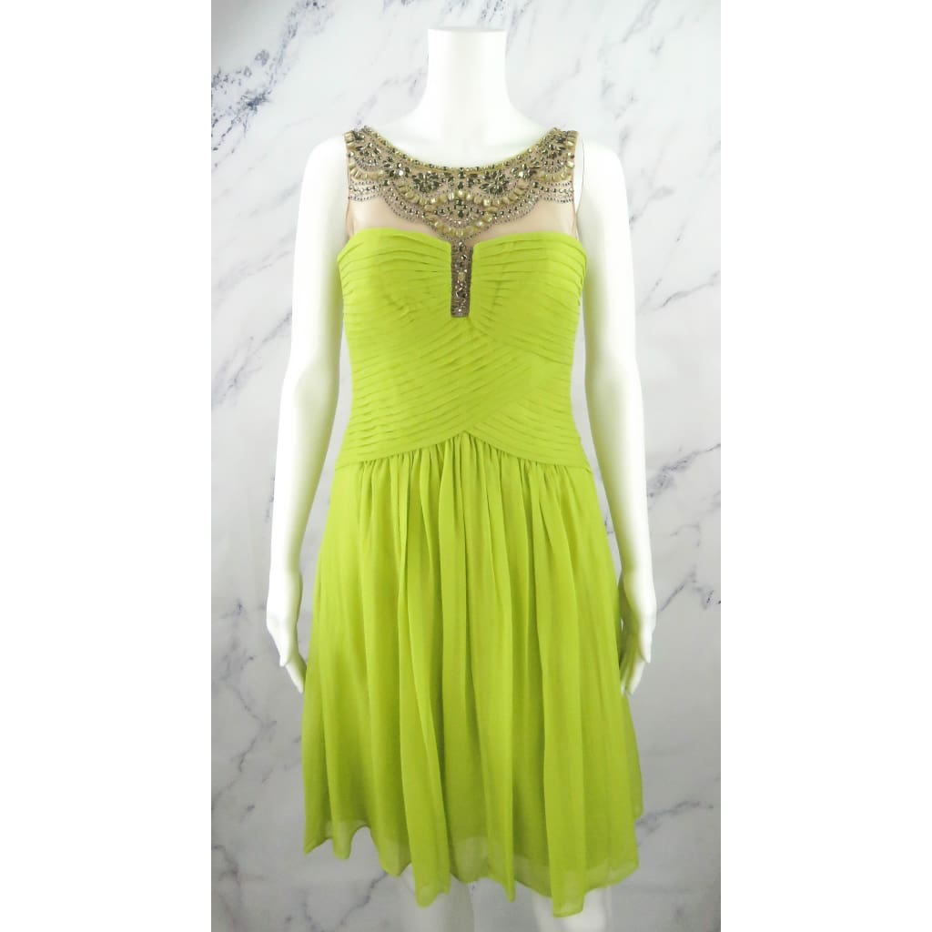 BCBG Lime Green Silk and Polyester Embellished Size 4 Dress - Dress