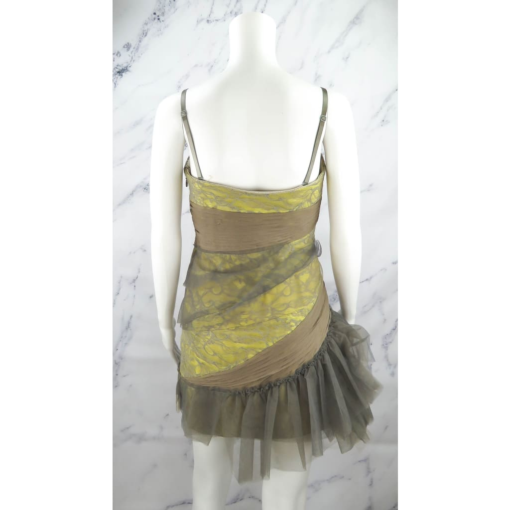 BCBG Max Azria Beige and Yellow Lace Convertible Strapless Size 4 Cocktail Dress - Cocktail Dress