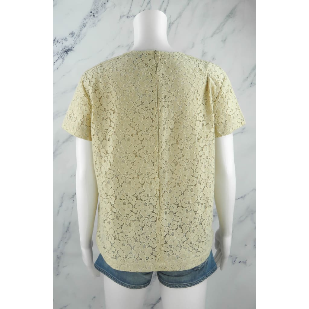 Belstaff Ivory Lace and Cotton Short Sleeve Size 42 Top - Blouse