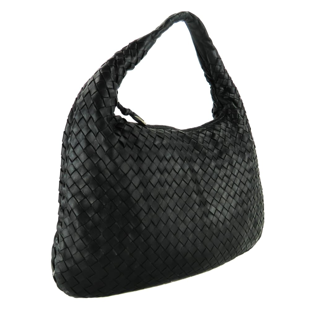 Bottega Veneta Black Leather Intrecciato Veneta Sac Hobo Bag - handbags