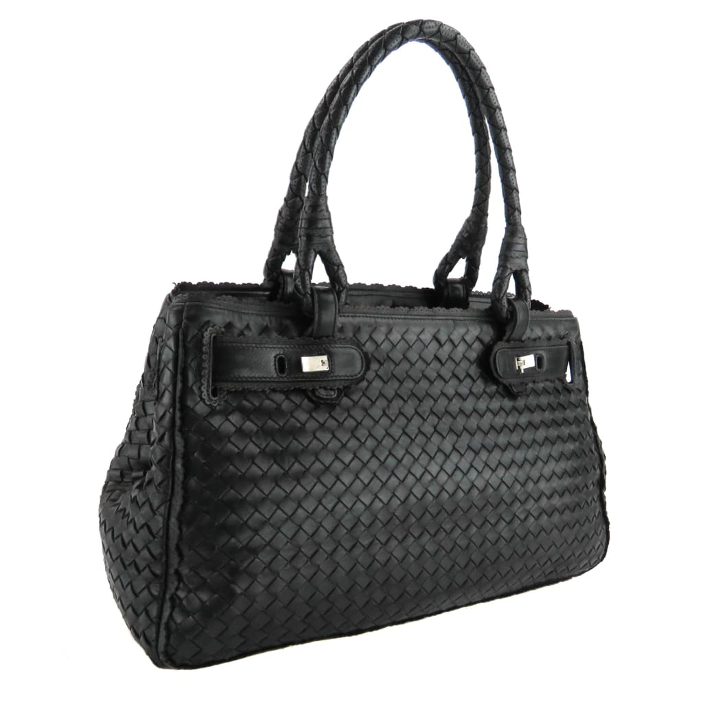 Bottega Veneta Black Woven Leather Intrecciato Shoulder Bag - Shoulder Bags
