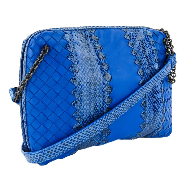Bottega Veneta Blue Leather Intrecciato Ayers Snake Messenger Crossbody Bag - Crossbodies