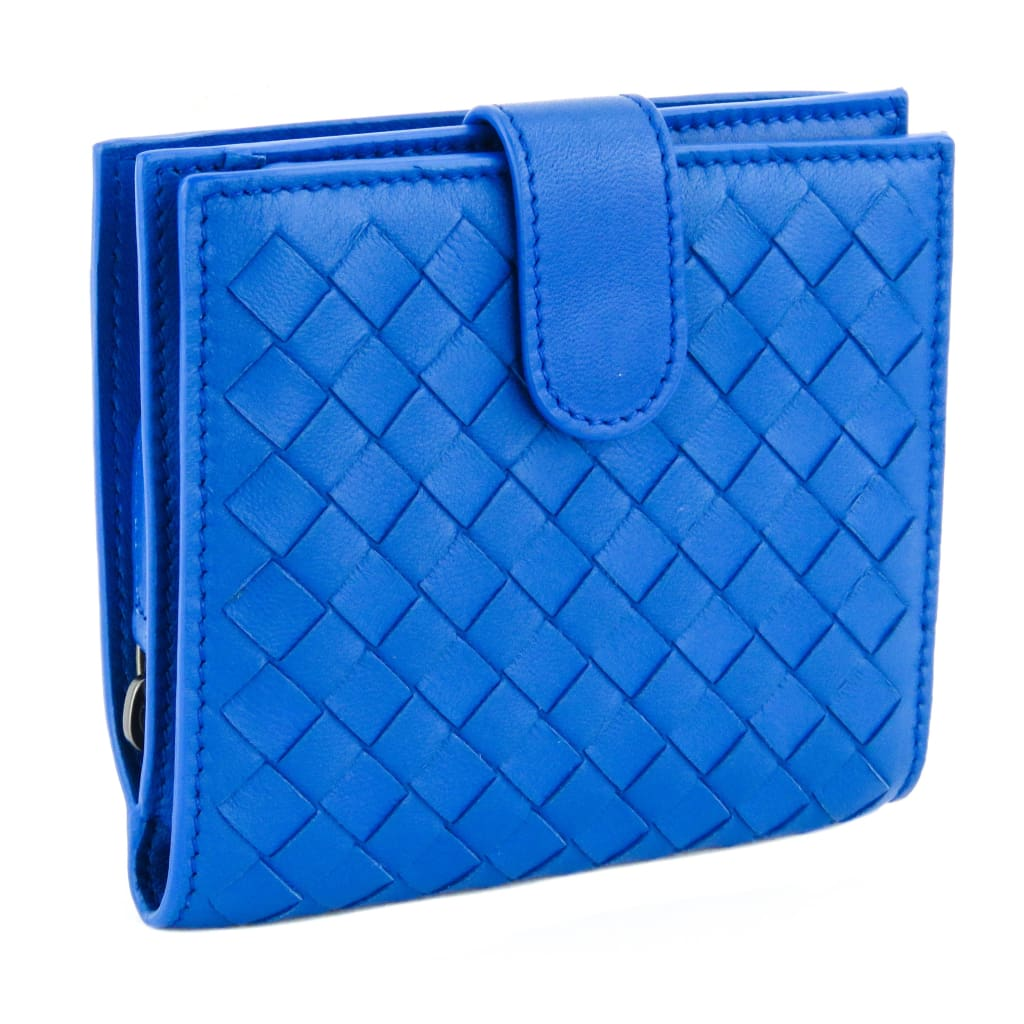 Bottega Veneta Blue Leather Intrecciato Compact Wallet - Wallet