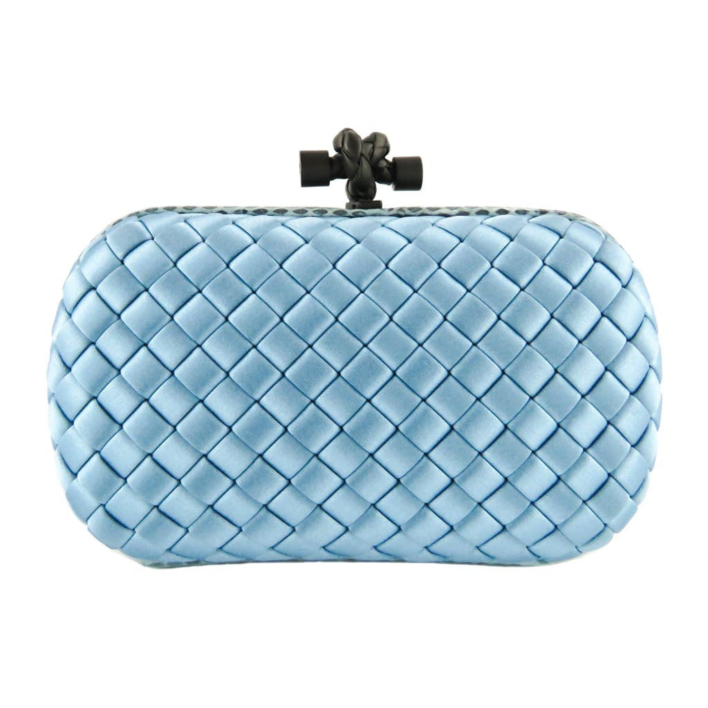Bottega Veneta Light Blue Woven Satin Ayers Knot Clutch Bag - Clutches