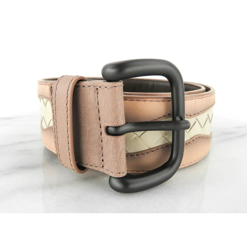 Bottega Veneta Pink and White Woven Leather Belt - Belts
