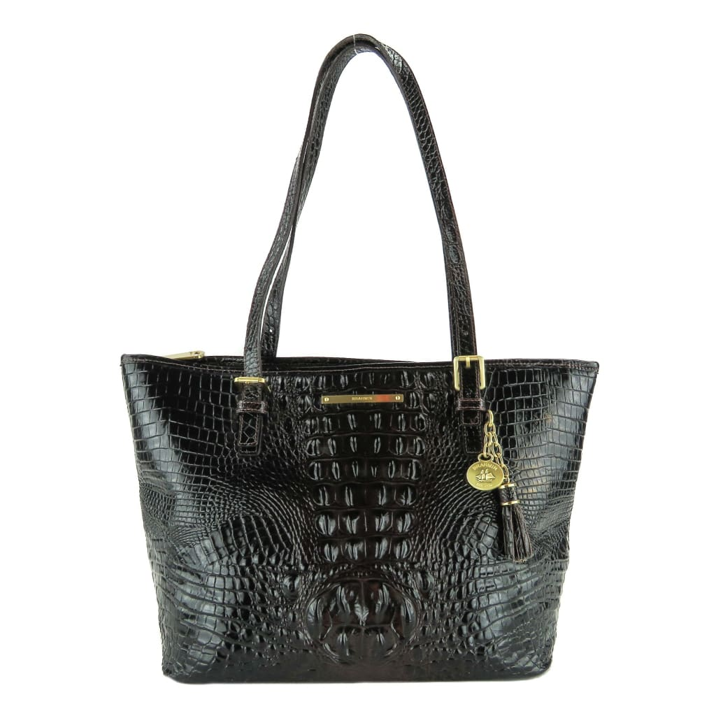 Brahmin Brown Croc Embossed Cocoa Melbourne Collection Medium Asher Tote Bag - Totes