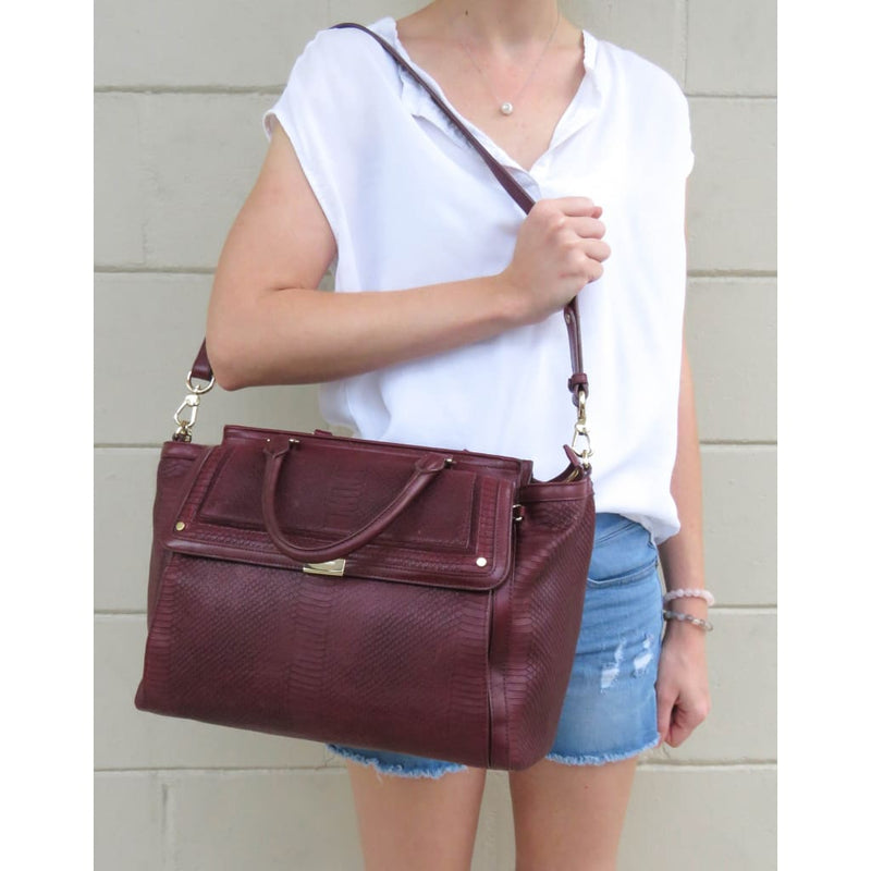 Brahmin Burgundy Textured Leather Taylor Tolkien Satchel Bag - Satchels