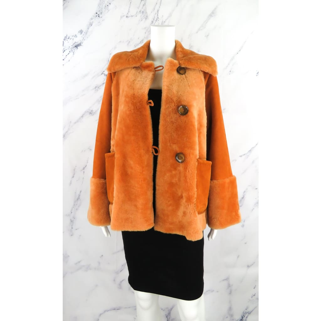 Brenda Knight for Free People Orange Lambskin 40s Sherpa Coat Small Jacket - Coat
