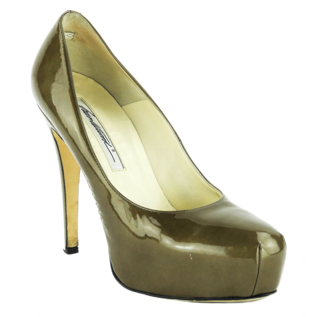 Brian Atwood Bronze Patent Leather Cognac Maniac Glass Platform Pumps - Heels