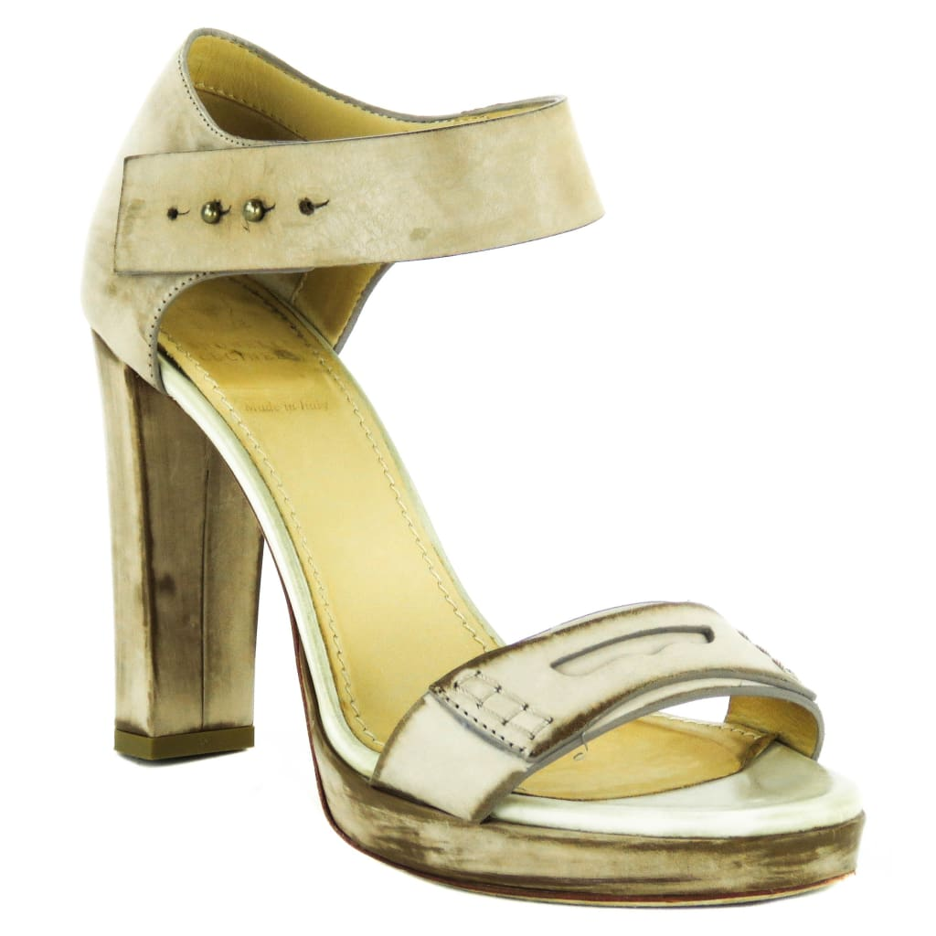 Brunello Cucinelli Beige Distressed Leather Open Toe Sandal Heels - Heels