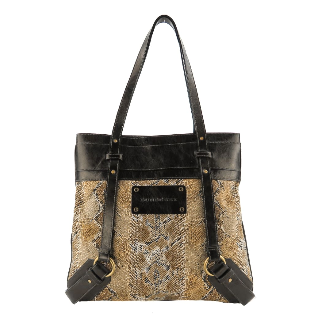 Burberry Beige and Brown Canvas Snake Print Tote Bag - Totes