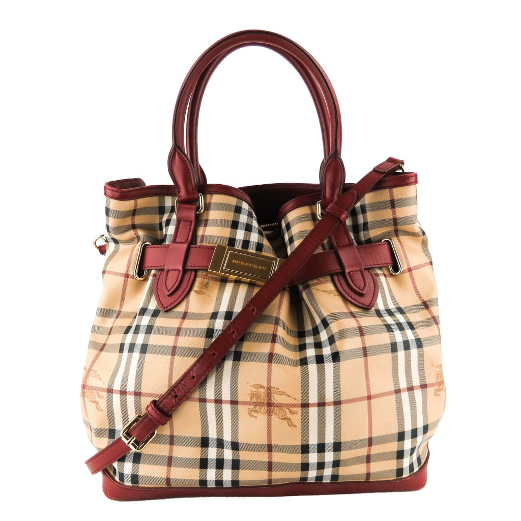 Burberry Beige and Red Haymarket Check Canvas Golderton Tote Bag - Totes