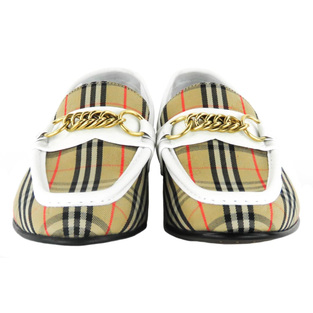 Burberry Beige Canvas Off White Check Runway Moorley Loafers - Loafers