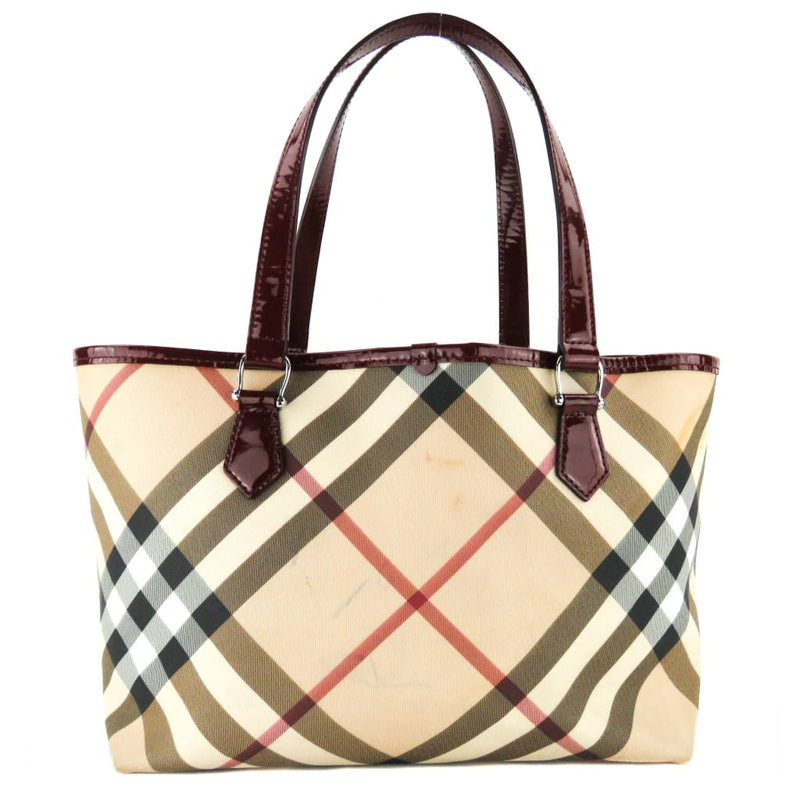 Burberry Beige Coated Canvas Supernova Check Tote Bag - Totes