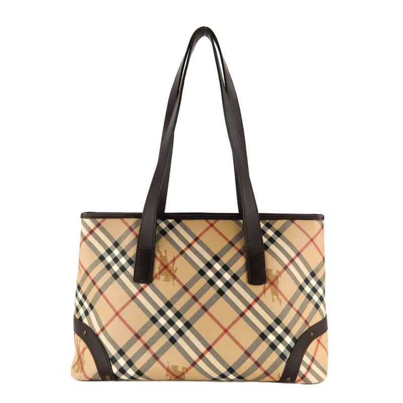 Burberry Beige Haymarket Check Canvas Studded Tote Bag - Totes