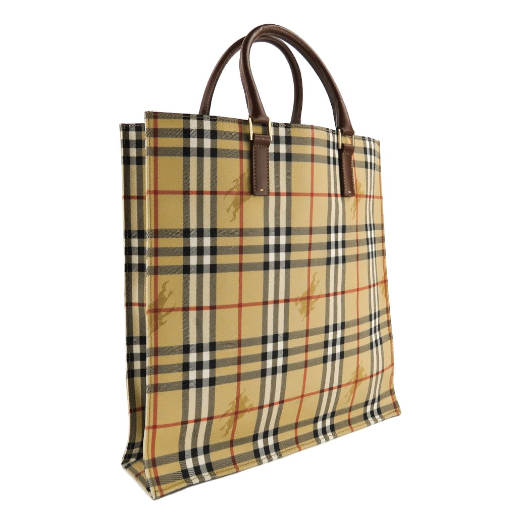 Burberry Beige Haymarket Check Canvas Tall Tote Bag - Totes