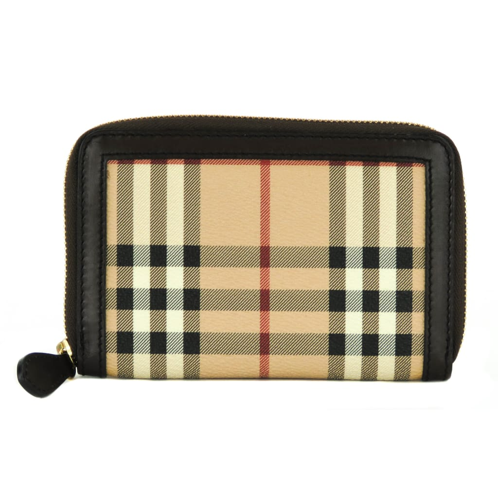 Burberry Beige Haymarket Check Canvas Ziggy Zip Around Wallet - Wallet