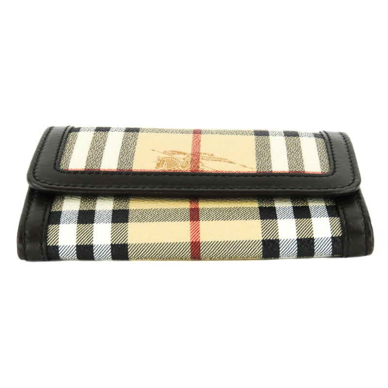 Burberry Beige Haymarket Check Coated Canvas Compact Wallet - Wallet