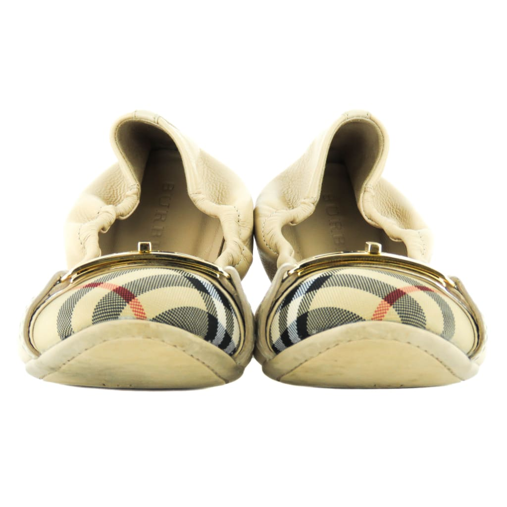 Burberry Beige Leather Nova Check Canvas Twist Lock Drayton Flats - Flats