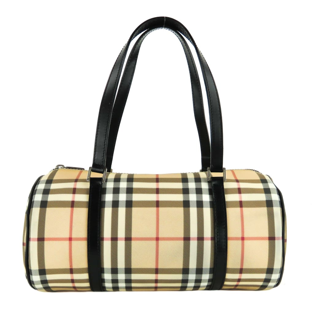 Burberry Beige Nova Check Coated Canvas Lola Barrel Satchel Bag - Satchels